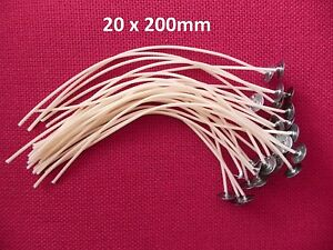 20 x 200mm Long Pre Waxed Wicks For Candle Making with sustainer`s