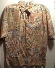 Cooke Street Honolulu Hawaiian Palm Leaves Short Sleeve Shirt Size L 100% Cotton