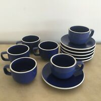 6 Sasaki Colorstone Sapphire D7530 Flat Handled Cup Saucer Sets Vignelli Design