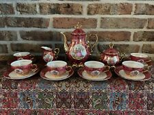 Vintage Schaller Wiesau Bavaria Coffee/Mokka Service, Red color and Gold plated