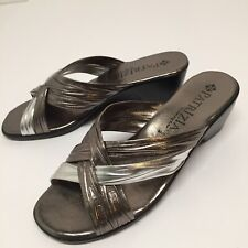 Patrizia By Spring Step Silver/ Gold Metallic Slip On Wedge Sandals Size 37 (7)