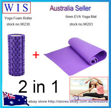 2 in 1 Yoga Set,Purple Textured Foam Roller and 6mm EVA Purple Yoga Mat