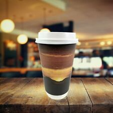 48 Sets Double Wall Paper Sunrise Disposable Coffee Cups With Lids 16 Oz