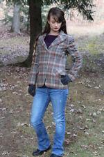 Vintage 70s Gray Rust PLAID Tudor Square 100% WOOL Retro Blazer Jacket Boho S