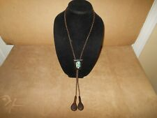 VINTAGE BENNET Wood Turquoise Inlay Bolo Tie - Signed