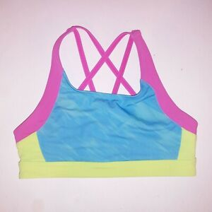 Under Armour Sports Bra Girls Size 10 Fitted Blue Green Purple Strappy No Paddin