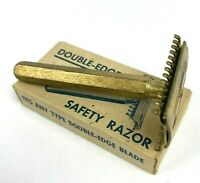 Vintage Gold Tone Double Edge Safety Razor 6 Sided Handle In Original Box