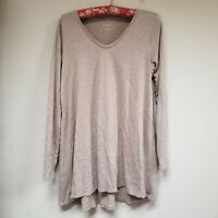 Pure Jill Women's Shirred-Back Tunic Top Long Sleeve Pima Cotton Brown Sz XS