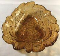 Vintage Indiana Glass AMBER Loganberry Bon Bon Candy Dish Bowl Berries & Leaves