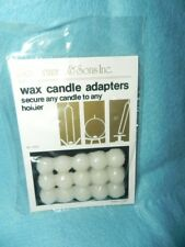 White Wax Candle Adapters, New, Secures Candles to Holders, 15 dots in card pack