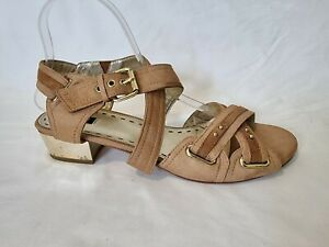 Mimco Ladies Shoes Size Eur 41 US 9.5 All Leather Sandals Gold Heels Open Toe