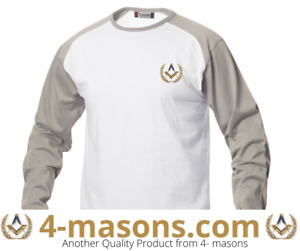 Masonic casual T shirt white  Body / taupe  Sleeve  with Square & Compass Motif