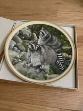 Lenox Collection Animal Decoration Wall Plate with Hanger in box ( raccoons )
