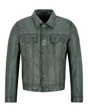 Mens Trucker Leather Jacket Grey Napa Classic Western Fashion Biker Style 1280