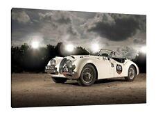 Jaguar XK 120 - 30x20 Inch Canvas - Framed Picture Print Wall Art Classic Car