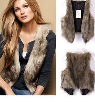 Women Clothes Faux Fur Leather Waistcoat Vest Winter Warm Jacket Cardigan Coat