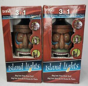 Bond Island Lights King Luau Stone Resin Torch Set of 2 Garden Torch 3.5ft New