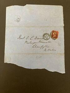 Postal History GB QV 1872 Llanfyllin CDS Parish Return 1d Red Plate144 Cat £25