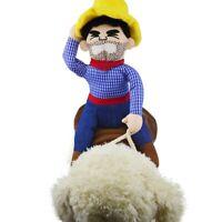 Funny Cowboy Dog Rider Costume Pet Puppy Dog Coat Pet Christmas Clothes Dress