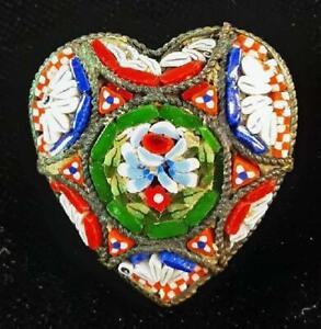 Vintage heart shaped Italian Micro Mosaic brooch