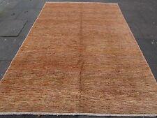 Traditional Hand Made Afghan Gabbeh Wool Gold Stripy Modern Carpet 293x203cm