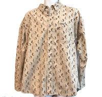 Chaps Ralph Lauren Men's Large Khaki Long Sleeve Cotton Fly Fishing Shirt Fish
