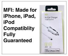 Kit MFI Apple Approved 2.1 Amp Lightning In-car Charger Compatible With iPhone 5