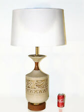 VINTAGE MCM Danish Modern Aztec Mayan Teak Walnut Art Pottery Lamp