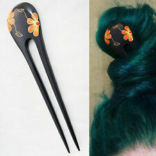 1PC Handcarved Black Paint Exotic Double Prong Hair Stick Hawaiian Flower Yellow