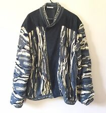 VTG Coogi Australia Sweater Jacket W/Suede Full Zip Textured Biggie SZ L