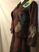 Choices Western Wear Shirt Gauze Tiered Full Skirt Brown Teal Petite M 3pc Dress