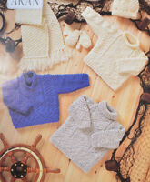 baby sweaters tunic mittens hat and scarf aran knitting pattern 99p