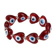 Evil Eye Murano Glass Heart Shaped Bead Protection Bracelet in Red