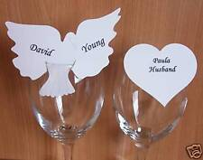 12 Personalised Dove or Heart Printed Place Cards / Table Decorations