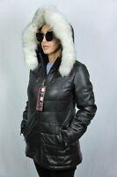 WOMEN 100% REAL LAMBSKIN LEATHER PUFFER JACKET COAT LINED BLUE FOX FUR XS-6XL