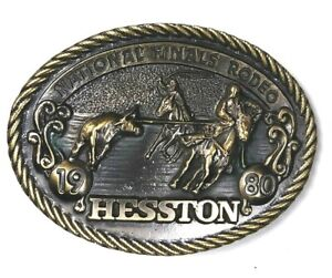 Hesston Limited 6th Edition National Finals Rodeo 1980 Brass Belt Buckle