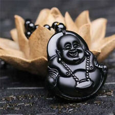Natural jade Natural Obsidian Carved Buddha 菩萨 pendant Clothing Jewelry Amulet