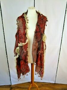 Scarf/sleeveless  Silk wrap.Red/maroon,tassels. Can be worn as a scarf or a wrap