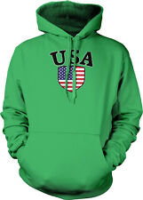 USA Country Flag Crest - American Pride Red White and Blue  Hoodie Pullover
