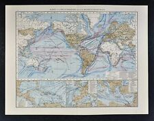 1887 Andrees World Map - Meteorology Ocean Currents Climate & Steamer Routes