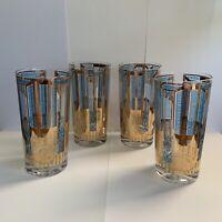 Vintage set~4~ Culver Blue Scrolls Gold Doors Highball Glasses 22K Gold