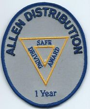 Allen Distribution truck driver patch 1 year safe driver award 4 X 3-1/8 dia