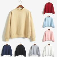 Women O-Neck Solid Color Tops Turtleneck Long Sleeve Plus Velvet Sweatshirt Tops