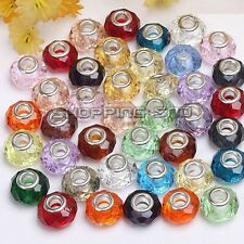 Mixed Faceted Murano Lampwork Glass Beads Fit European Charm Bracelets - 100pcs
