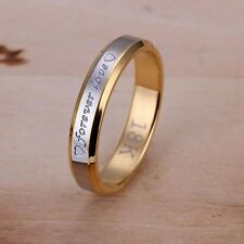 STAMPED 18K REAL GOLD/WHITE FILLED 'FOREVER LOVE' ENGRAVED RING SIZE 9(S) GIFT