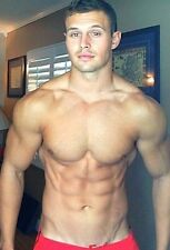 Shirtless Male Muscular Beefcake Jock Hunk Ripped Abs Handsome PHOTO 4X6 C1343