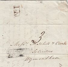 NORFOLK :1838 boxed ATTLEBOROUGH/PENNY POST on entire to Wymondham