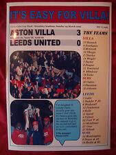 Aston Villa 3 Leeds United 0 - 1996 Coca-Cola Cup final - souvenir print