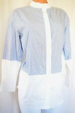 ADAM LIPPES WHITE JEWEL NECKLINE STRIPPED COTTON BUTTON DOWN SHIRT SIZE 12
