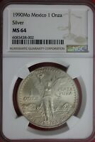 1990 MS 64 Libertad 1 Onza Mexico 1 Ounce .9999 Silver NGC Certified OCE 546
